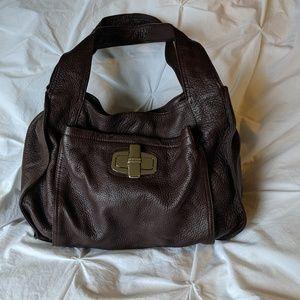 B. Makowsky Chocolate Brown Leather Shoulder Bag